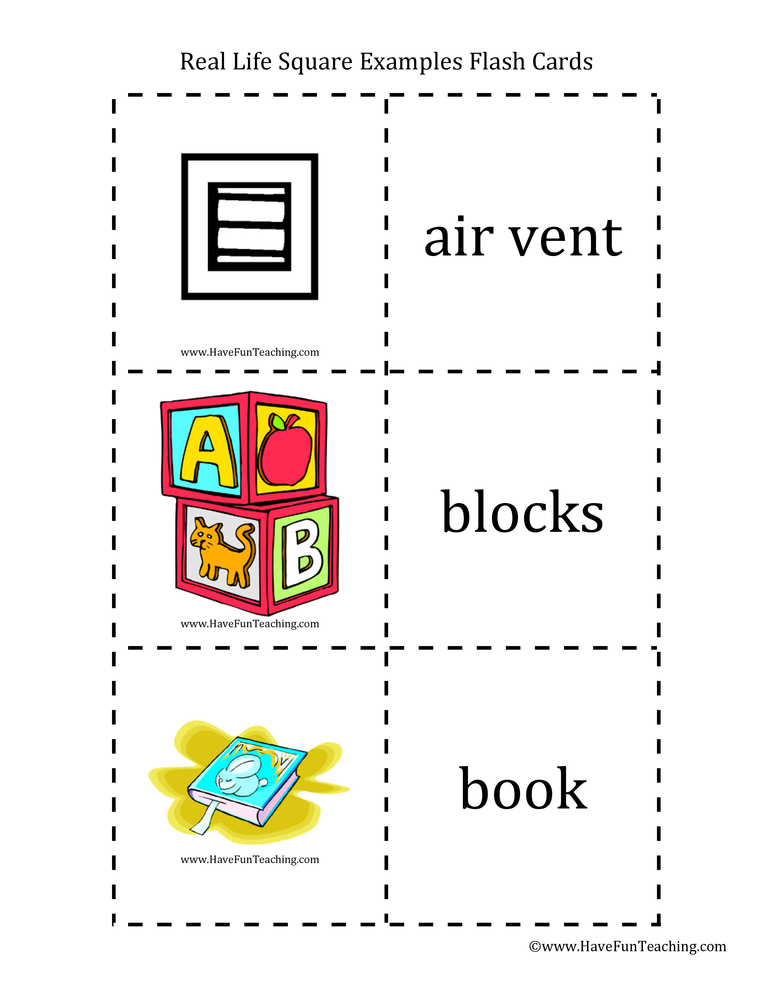 Real Life Examples Square Flash Cards