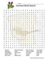 vermont wordsearch worksheet