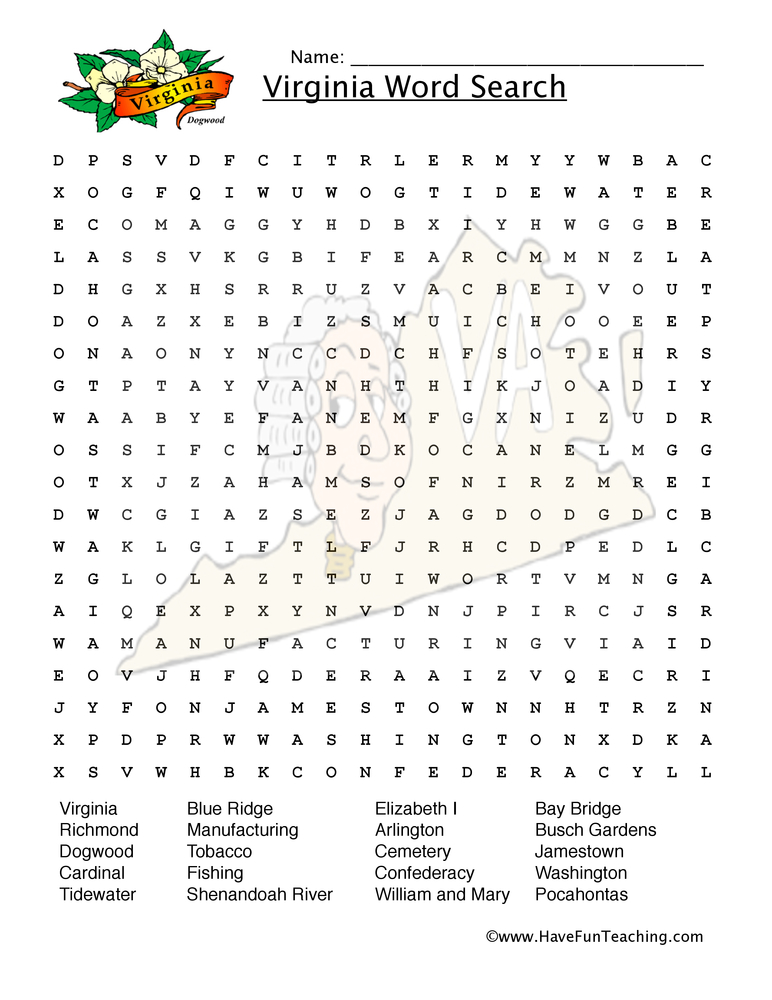 virginia wordsearch worksheet