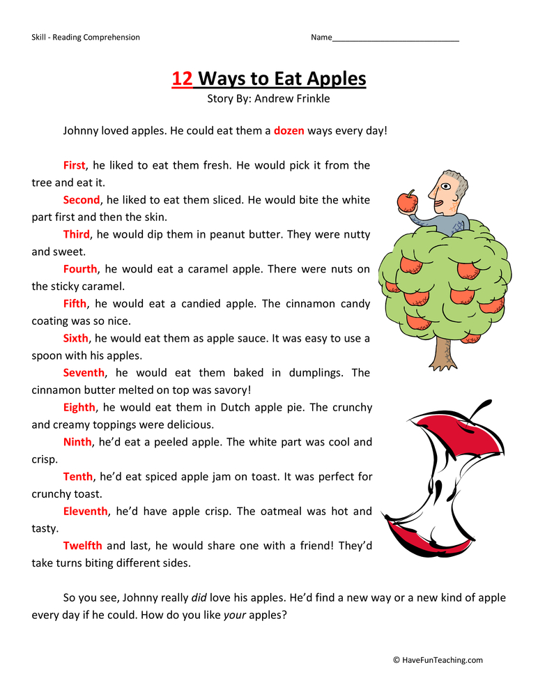 12 ways to eat apples second grade reading comprehension worksheet