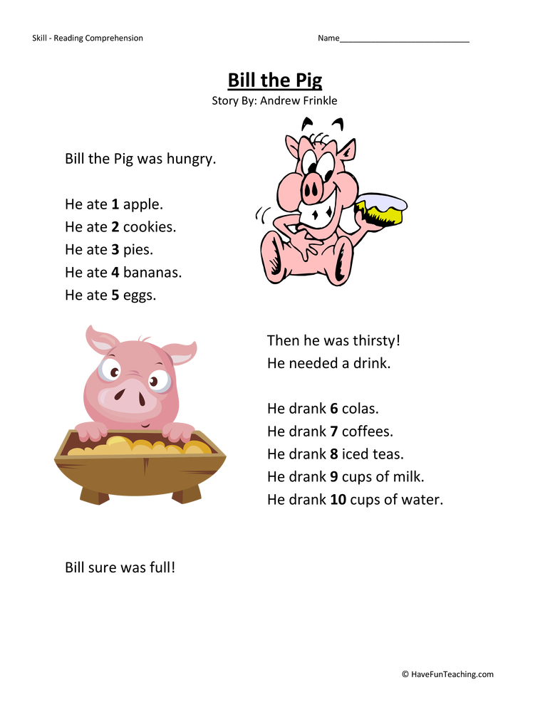 First Grade Reading Prehension Worksheets Have Fun Teaching. Bill The Pig First Grade Reading Prehension Worksheet. First Grade. Printable First Grade Reading Worksheets At Clickcart.co