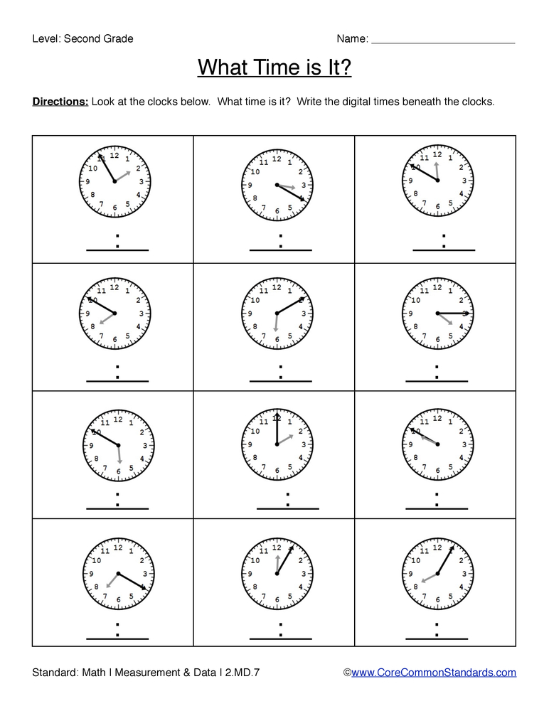 Common Core Worksheet - 2.MD.7