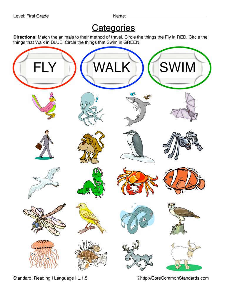 Common Core Worksheet: Match the animals to their method of ...