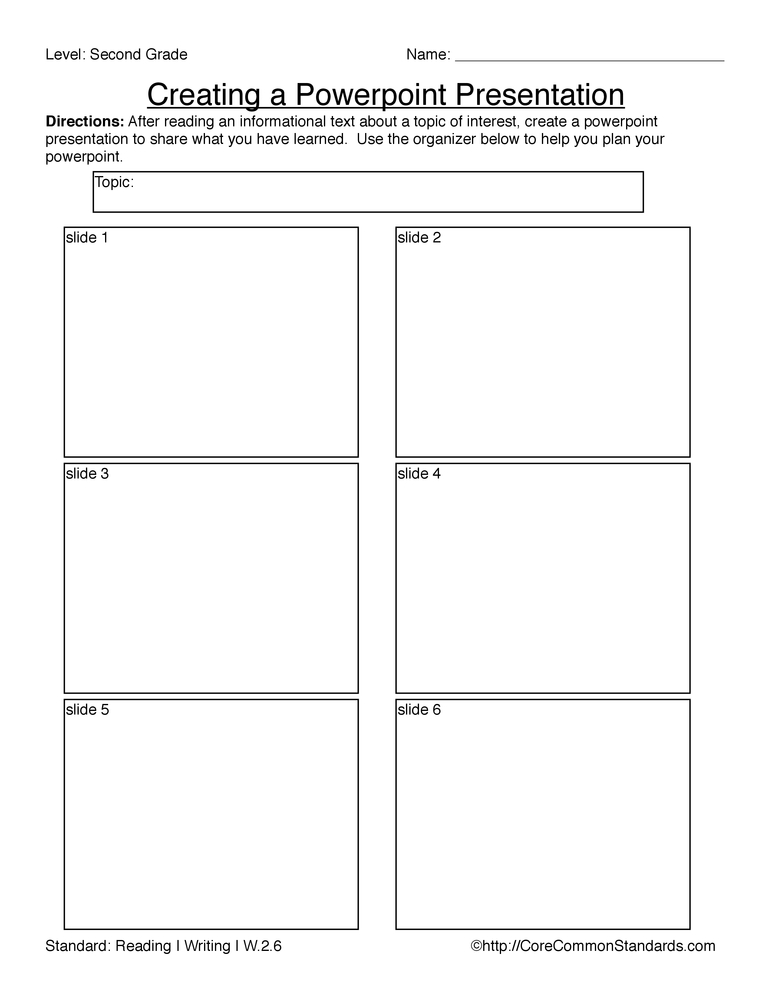 Common Core Worksheet - W.2.6