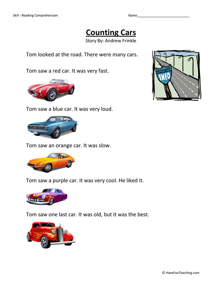 Counting Cars Reading Comprehension Worksheet – First Grade Reading Comprehension Worksheets