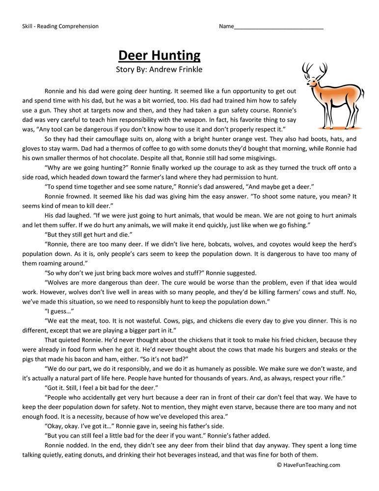 deer hunting sixth grade reading comprehension worksheet