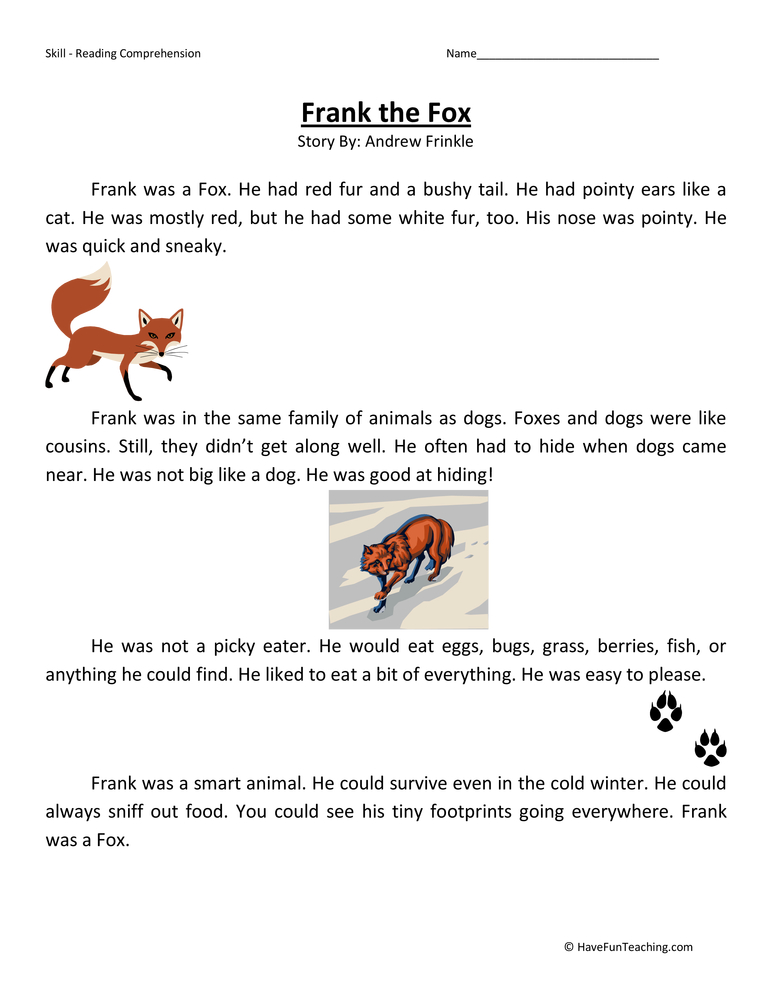 frank-the-fox-second-grade-reading-comprehension-worksheet Reading Comprehension Lesson For First Grade on