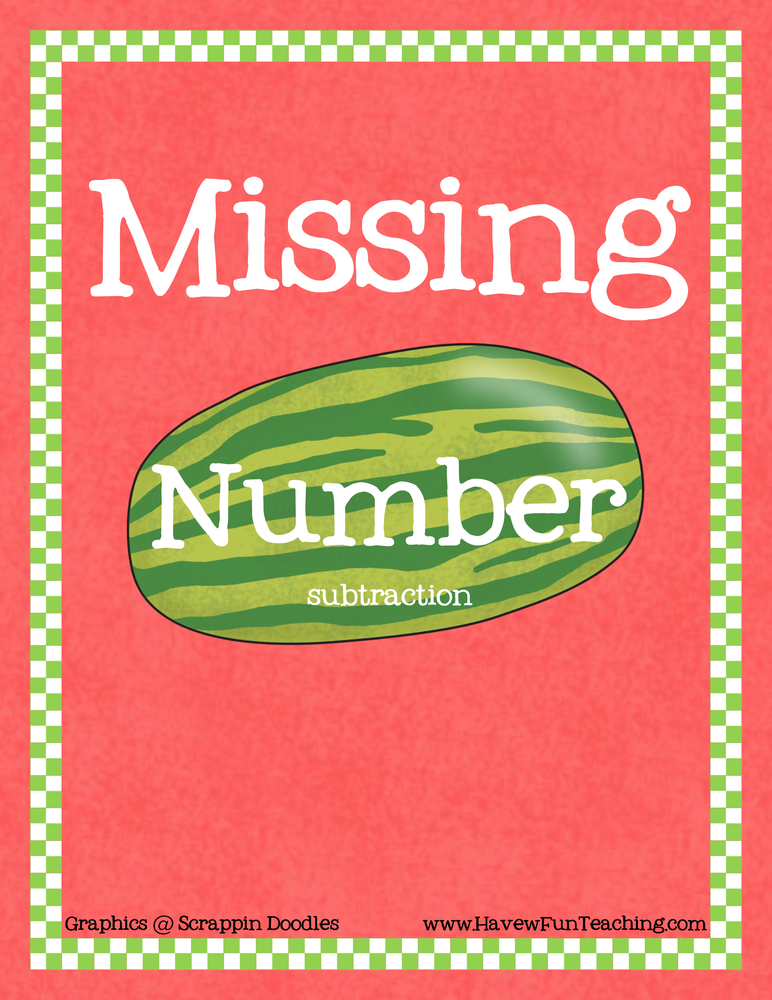 Missing Number Subtraction Activity