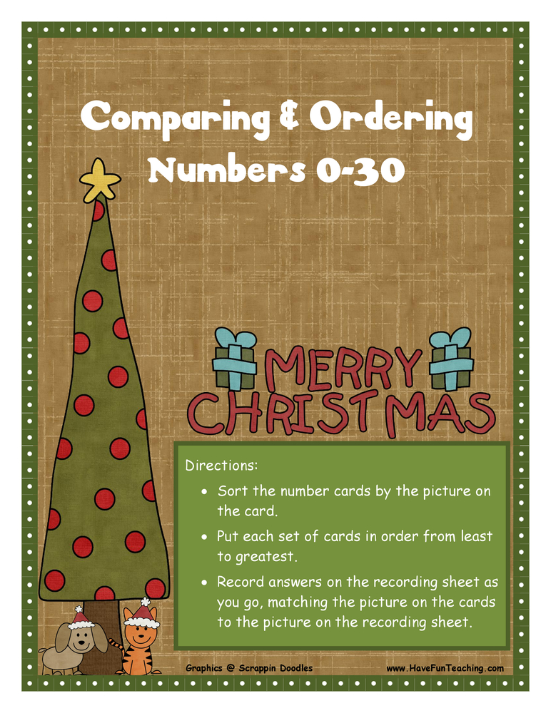 ordering numbers 0-30 christmas activity