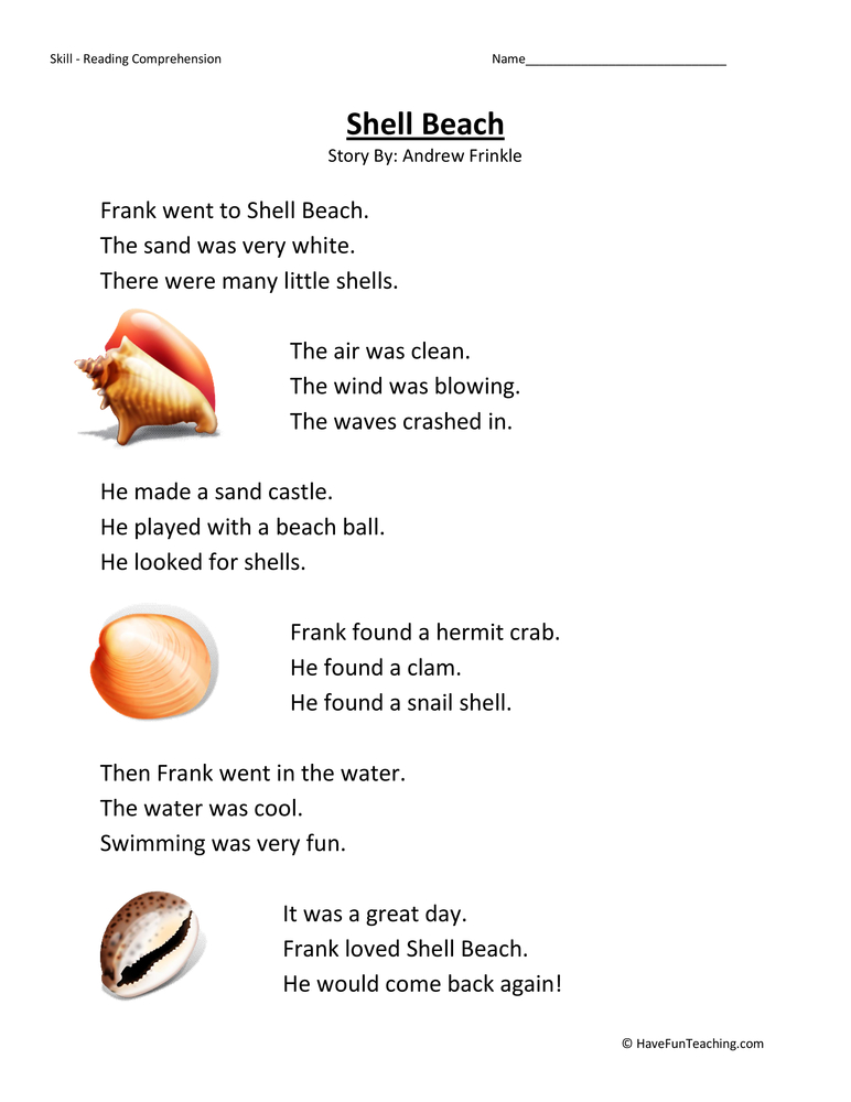 s-beach-first-grade-reading-comprehension-worksheet Reading Comprehension Lesson For First Grade on