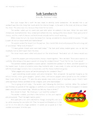 sub sandwich sixth grade reading comprehension worksheet