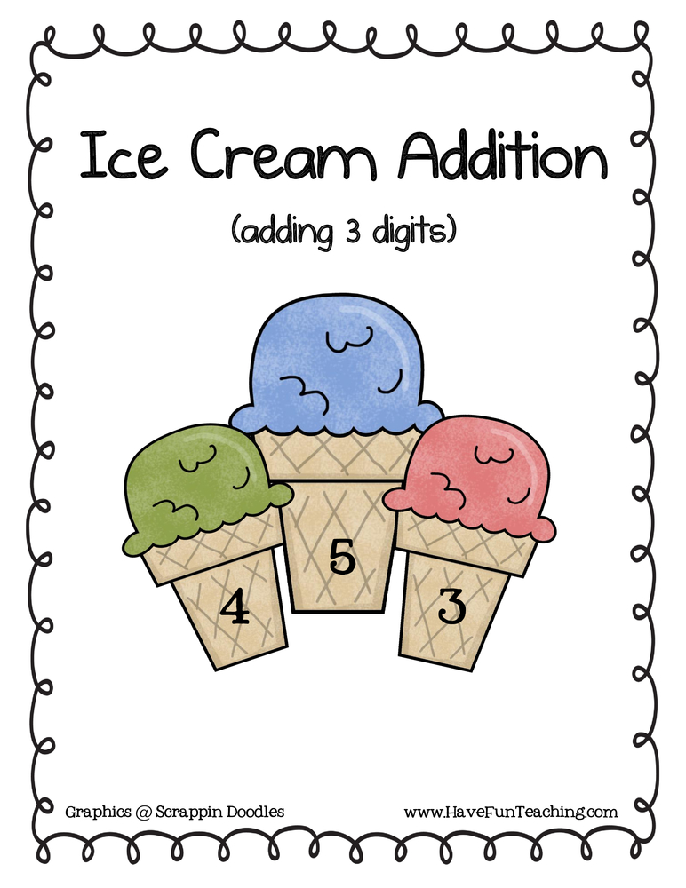 three addend addition activity