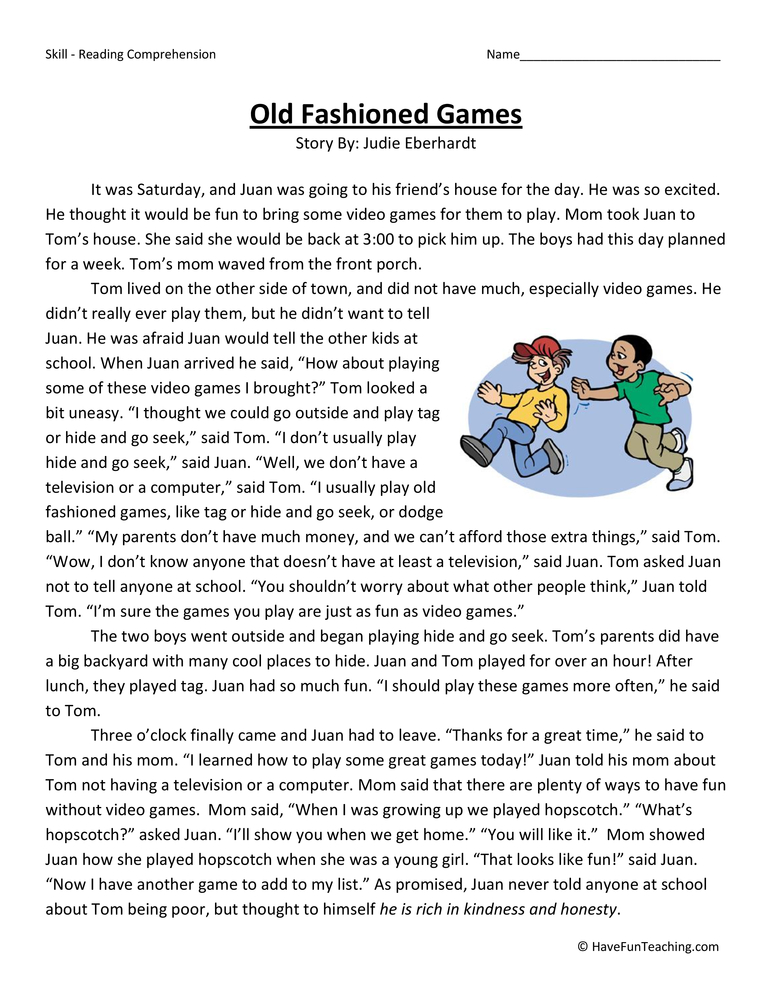 2nd Grade Reading Comprehension Worksheets : Old fashioned games reading comprehension worksheet