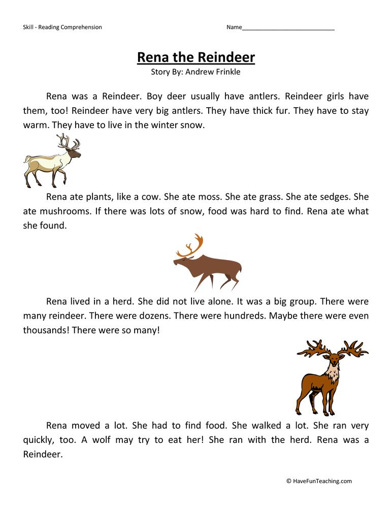 Second Grade Reading Comprehension Worksheet Rena the Reindeer – Second Grade Worksheet