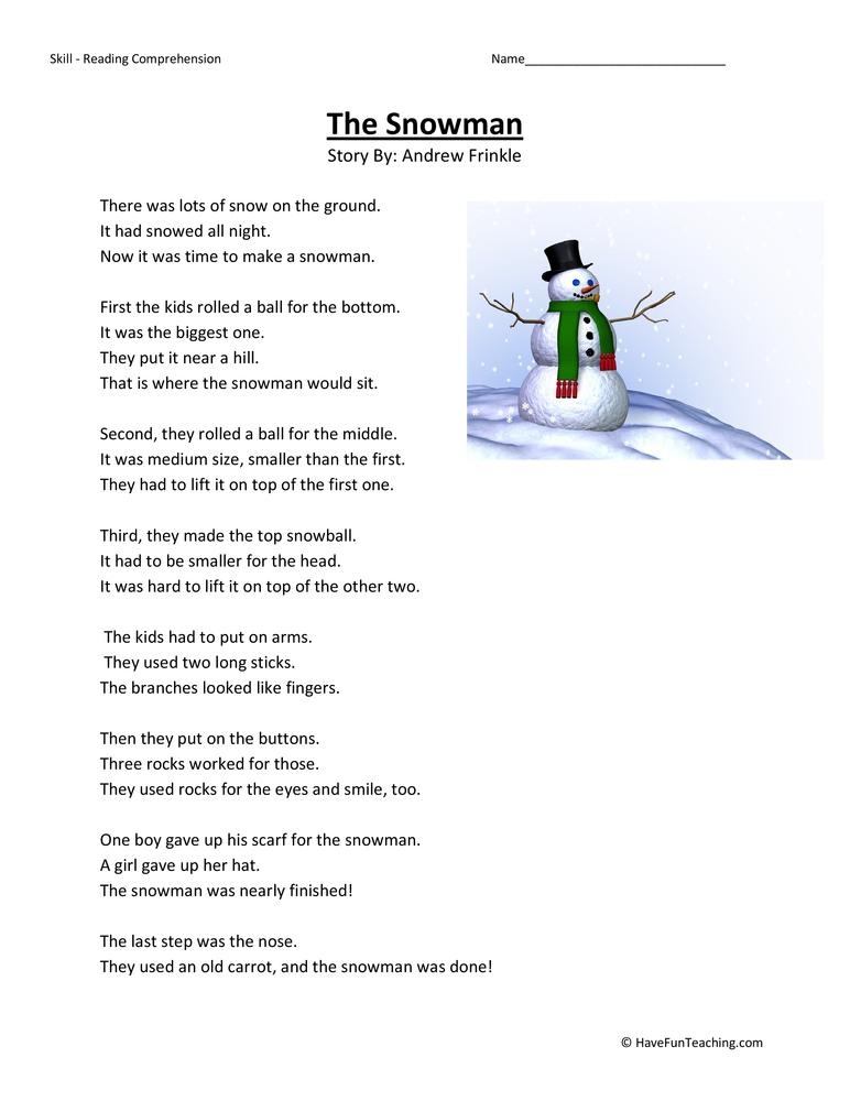 Snowman Reading Comprehension Worksheet