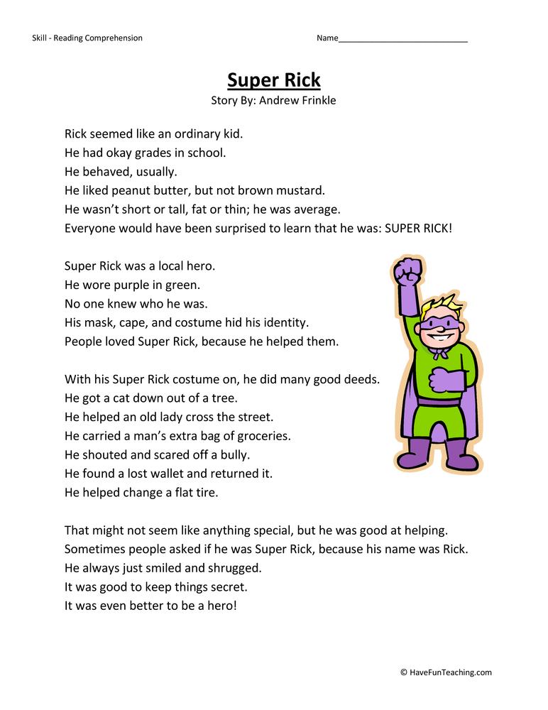 Super Rick Reading Comprehension Worksheet • Have Fun Teaching