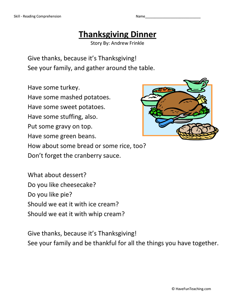thanksgiving reading activities elementary