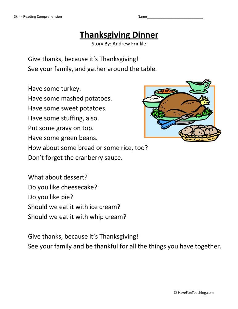 Second Grade Reading Comprehension Worksheet - Thanksgiving Dinner ...