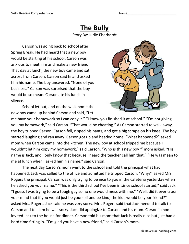 The Bully Reading Comprehension Worksheet