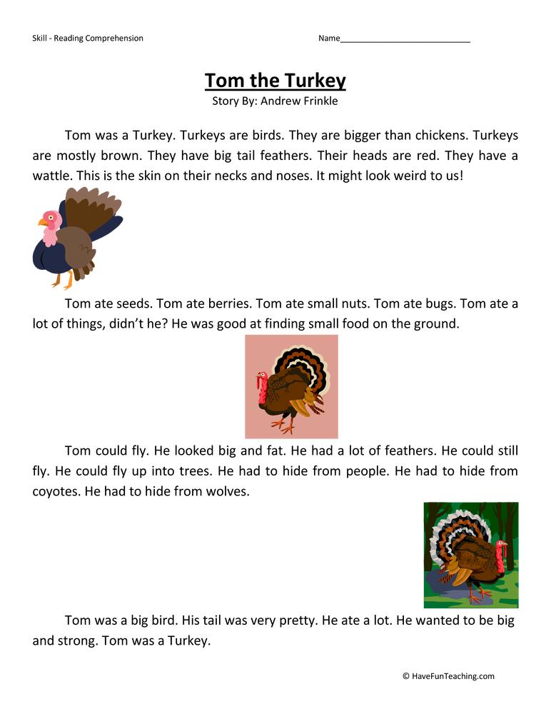 Tom the Turkey Reading Comprehension Worksheet