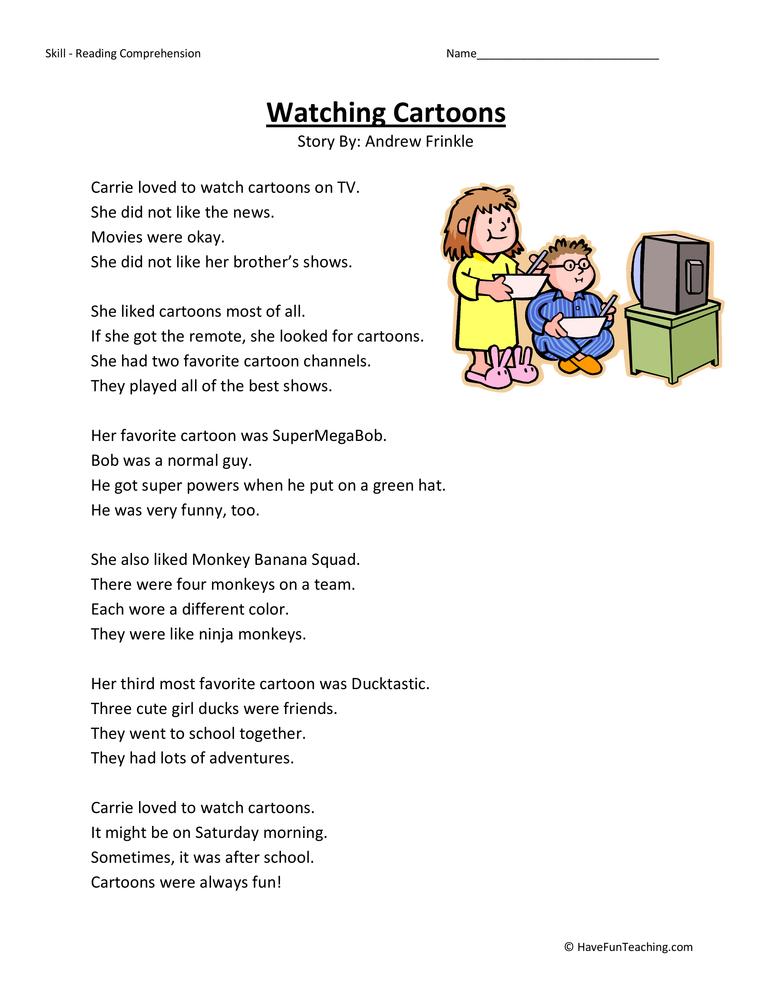 Reading Worksheet Printables : Watching cartoons reading comprehension worksheet