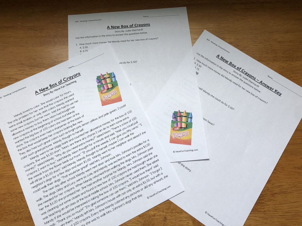 A New Box of Crayons Fifth Grade Reading Comprehension Worksheet