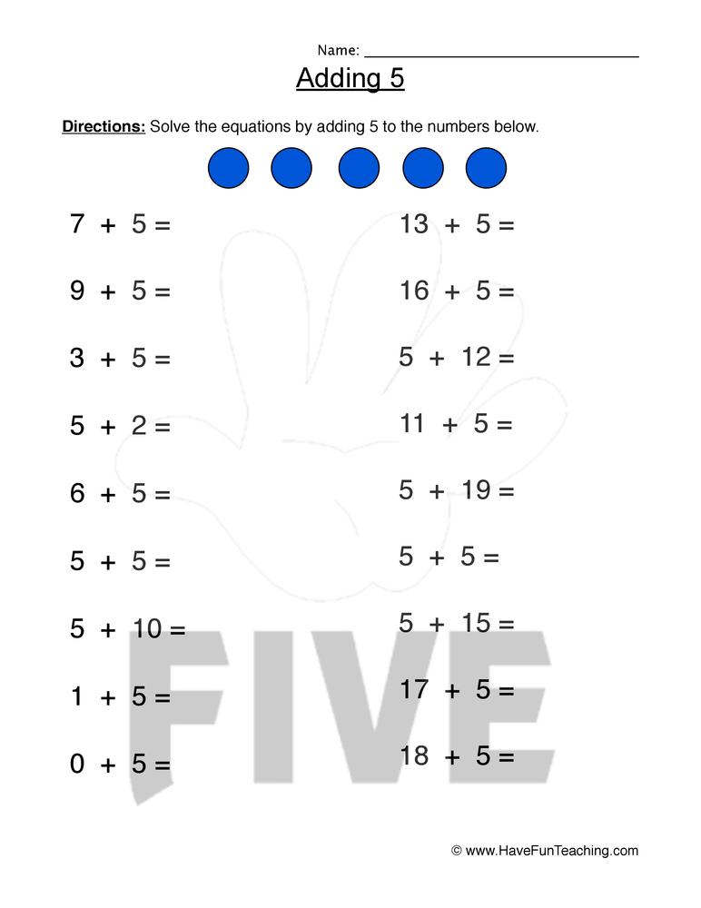 Adding Five Worksheet