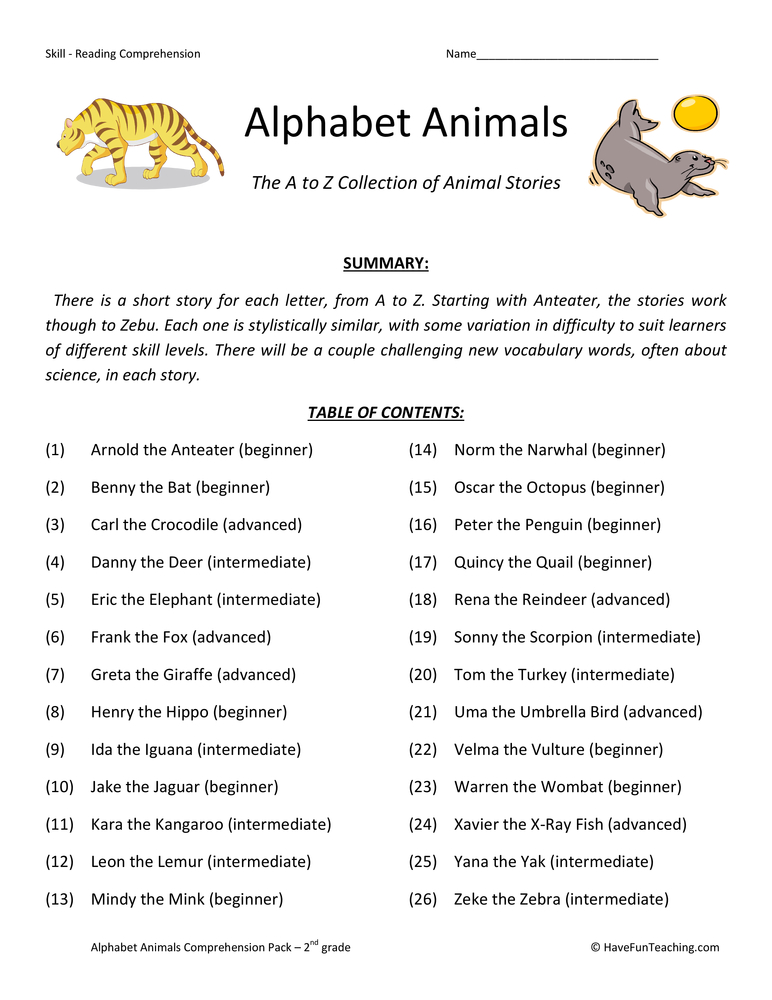 alphabet animals collection second grade reading comprehension worksheets
