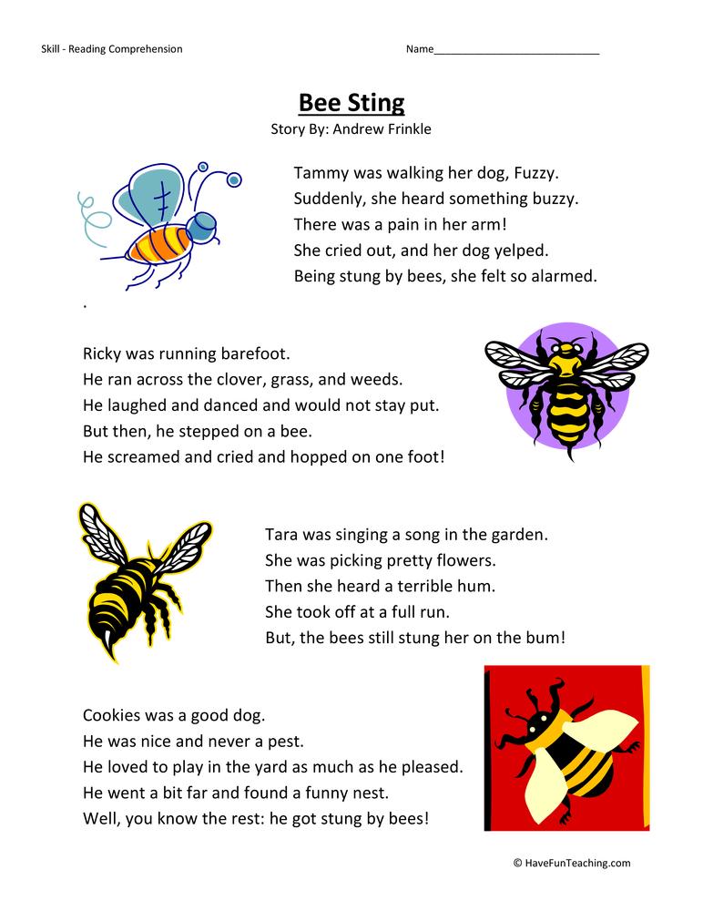Bee Sting - Reading Comprehension Worksheet | Have Fun Teaching