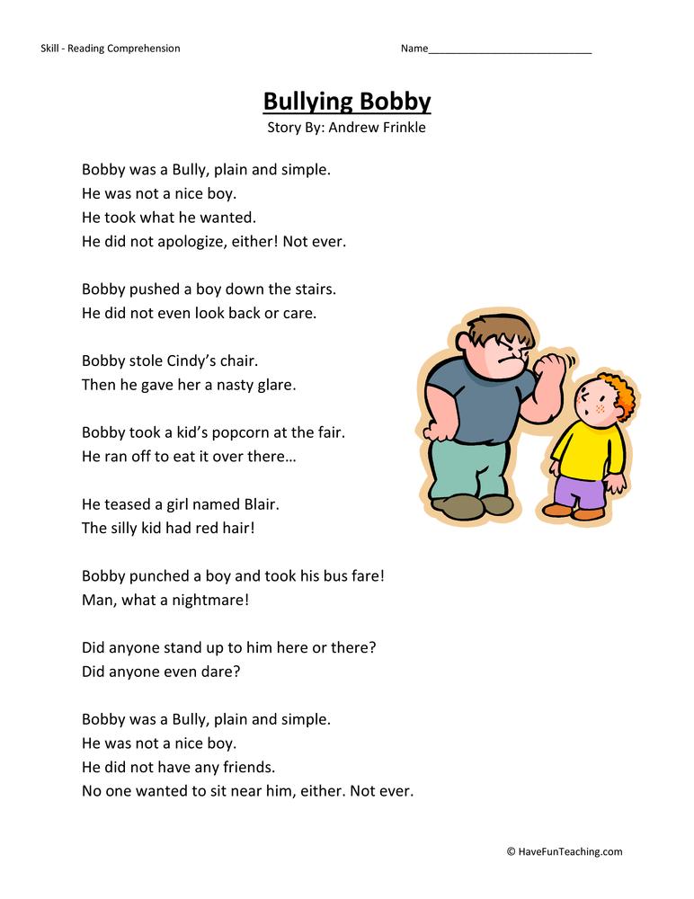Bullying Bobby Reading Comprehension Worksheet – Reading Comprehension Worksheets 2nd Grade