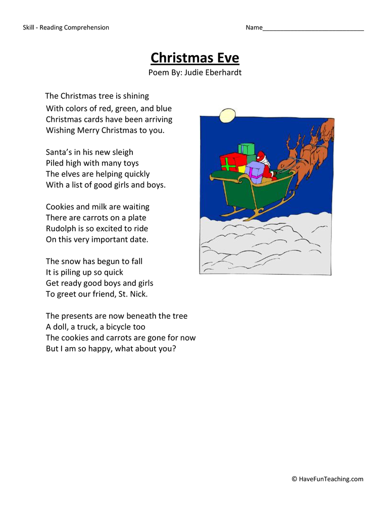 Christmas Eve Third Grade Reading Comprehension Worksheet