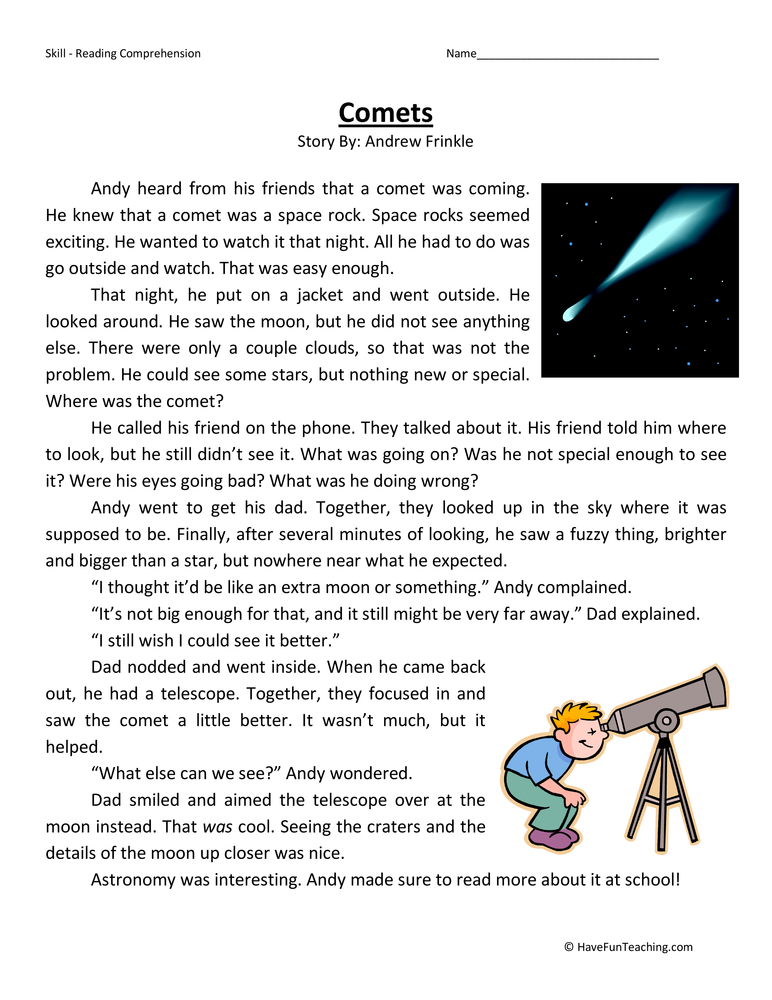 Reading Comprehension Worksheets Solar System (page 2 ...