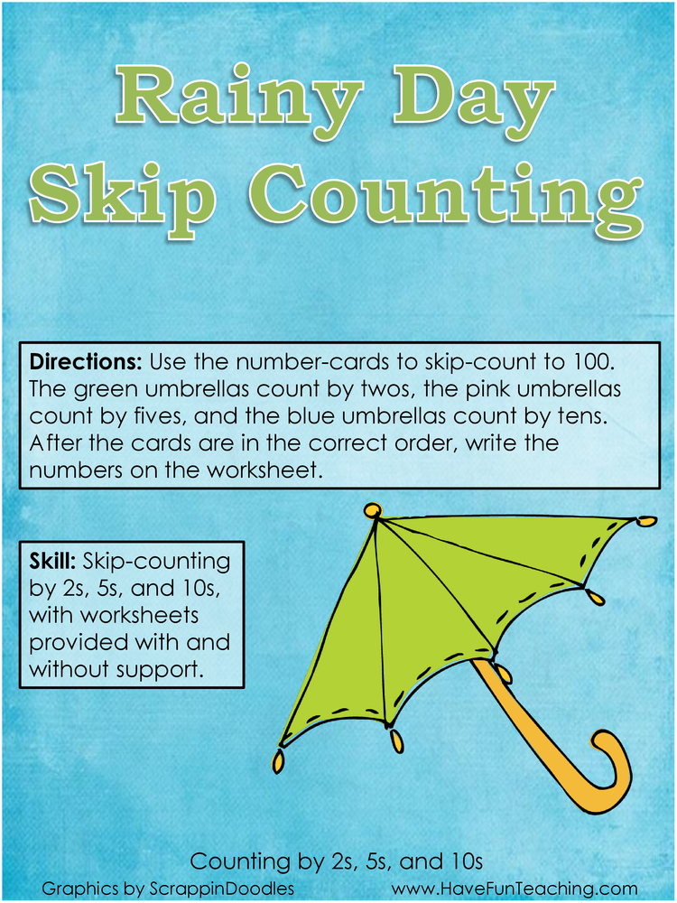 Rainy Day Skip Counting Activity