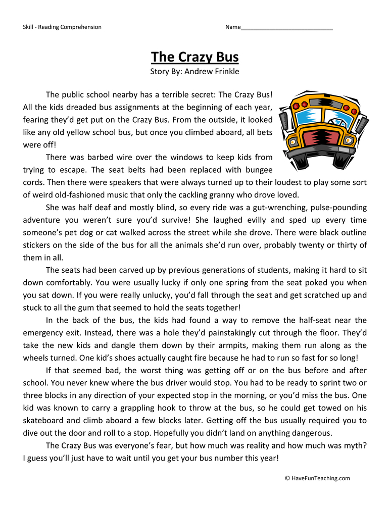 Fun Worksheets For 5th Graders : Reading comprehension fifth class