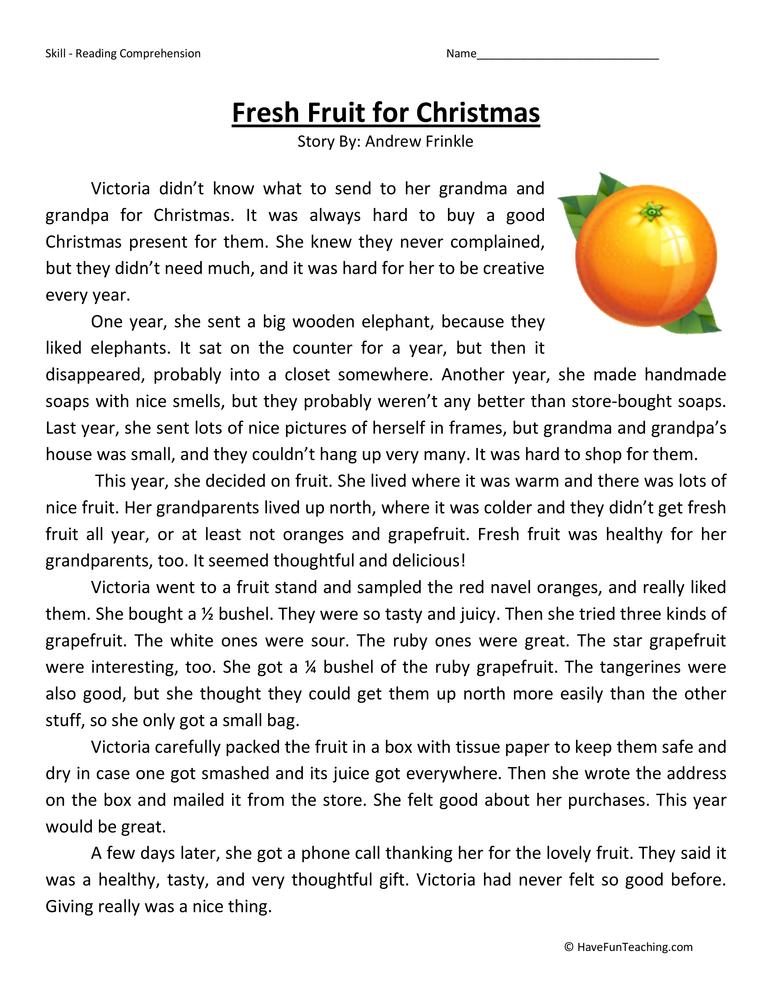 ... Grade Reading Comprehension Worksheet – Fresh Fruit for Christmas