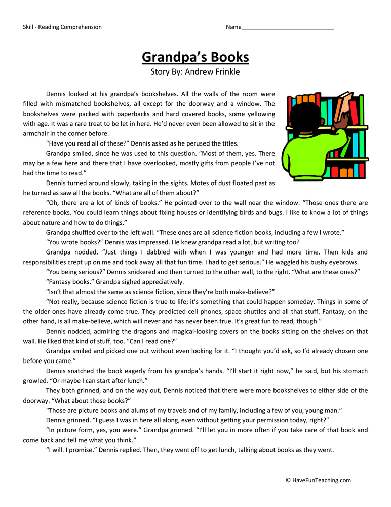 Grandpa's Books - Reading Comprehension Worksheet | Have Fun ...