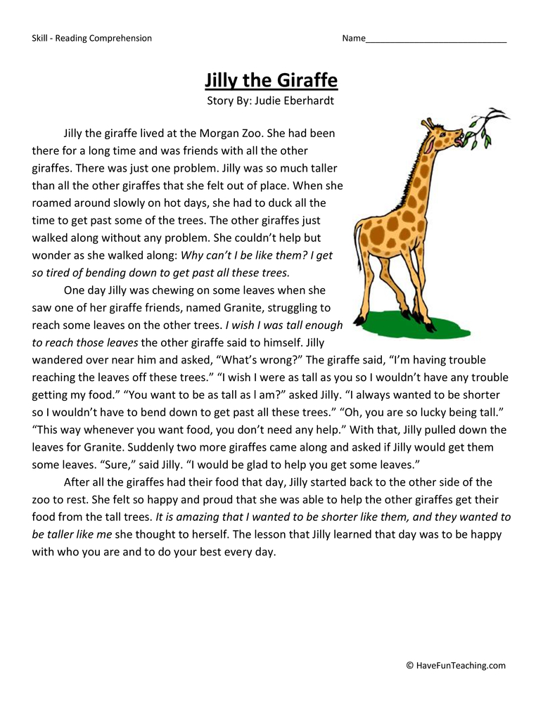 Third Grade Reading Comprehension Worksheets- Page 7 of 16 ...