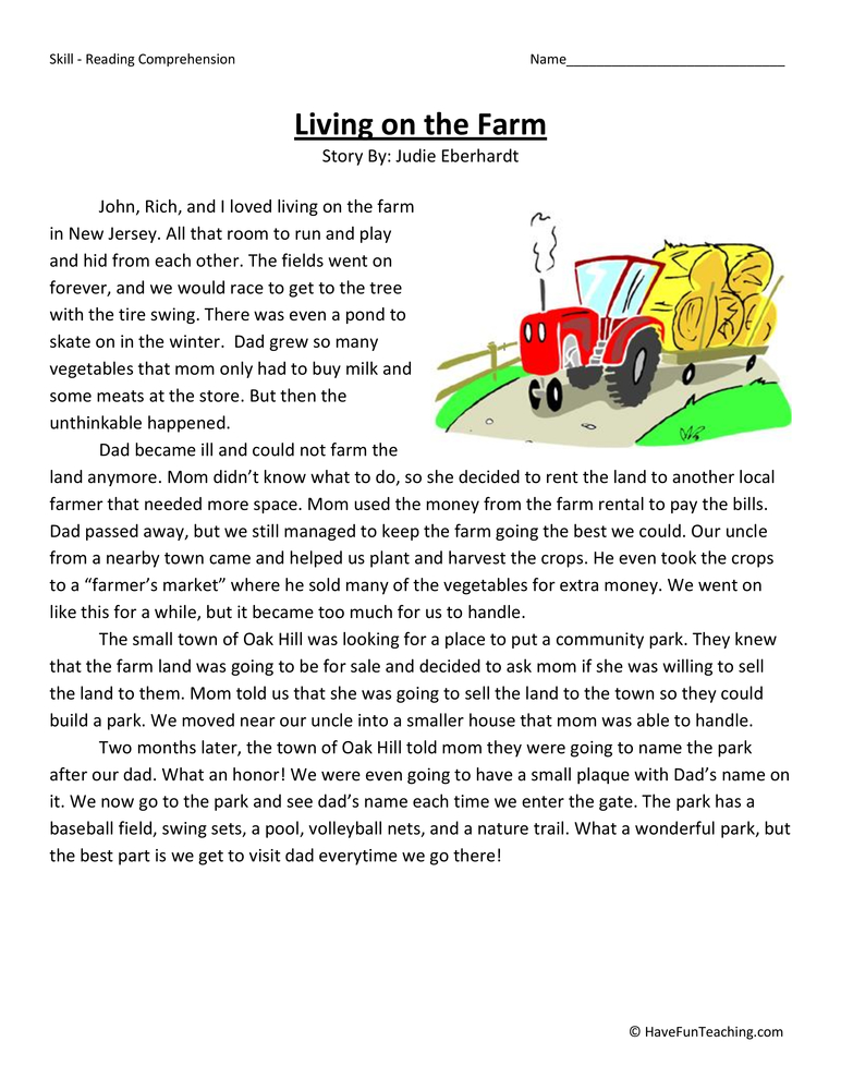 Living On the Farm Reading Comprehension Worksheet – First Grade Reading Comprehension Worksheets
