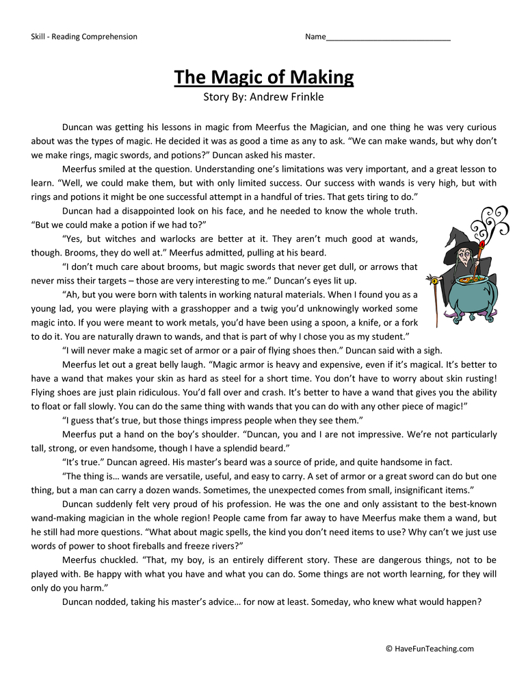 Magic of Making Fifth Grade Reading Comprehension Worksheet