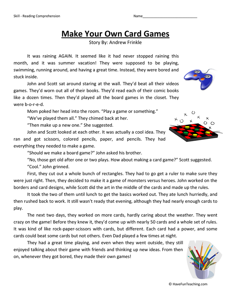 Make Your Own Card Games Reading Comprehension Worksheet – Make Your Own Worksheets
