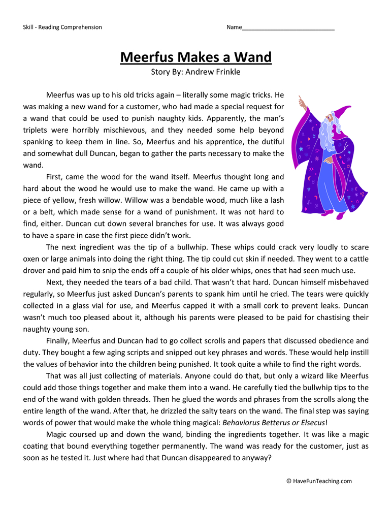 Meerfus Makes a Wand Fifth Grade Reading Comprehension Worksheet