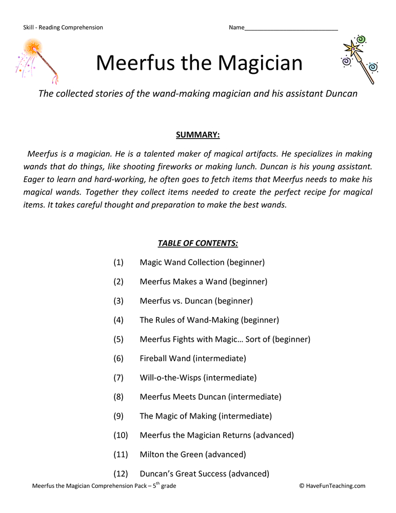 Fifth Grade Reading Comprehension Test Collection - Meerfus the Magician