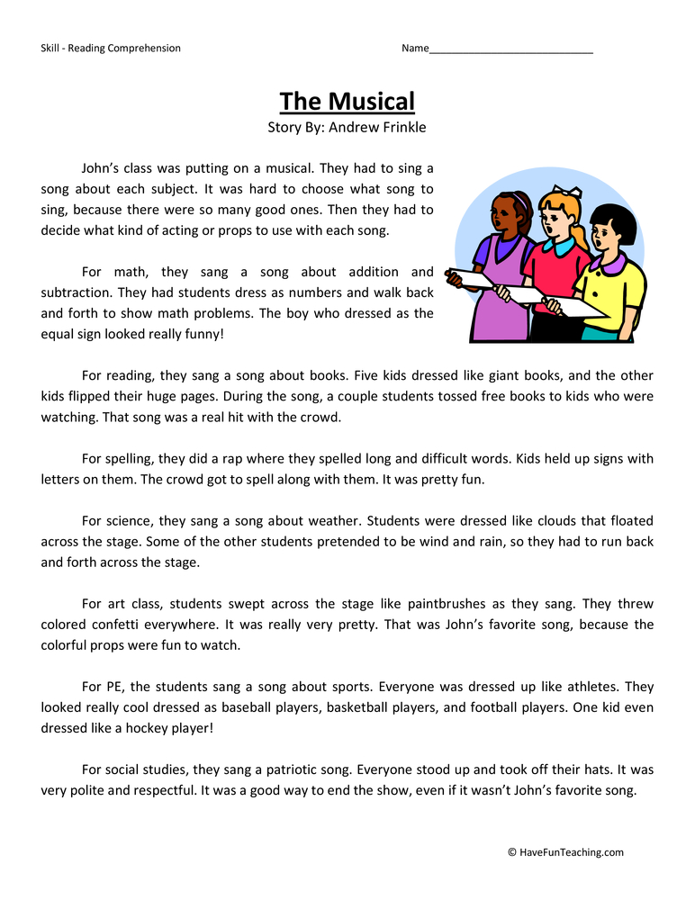Musical Reading Comprehension Worksheet | Have Fun Teaching