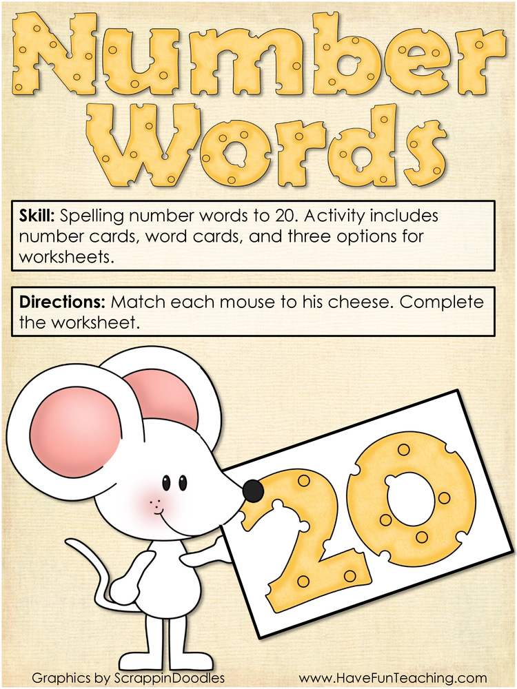 Number Words to 20 Activity
