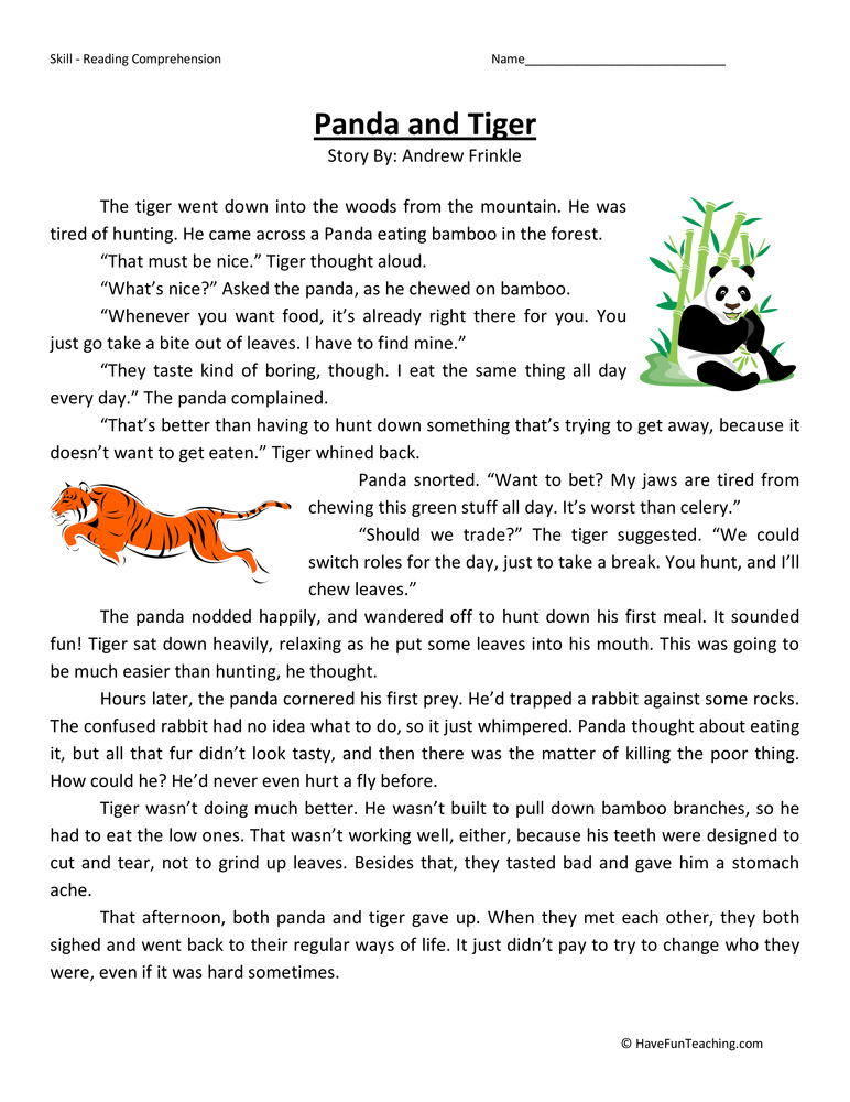Panda And Tiger Reading Prehension Worksheet