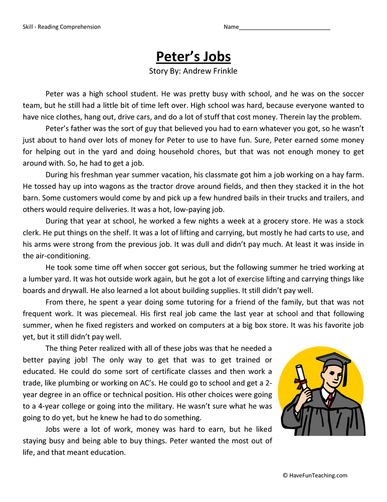 Peter's Jobs Fifth Grade Reading Comprehension Worksheet