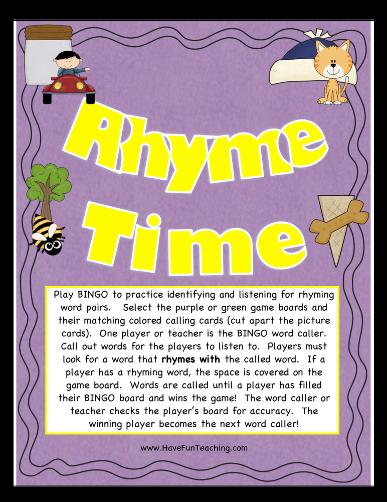 rhyming words bingo activity