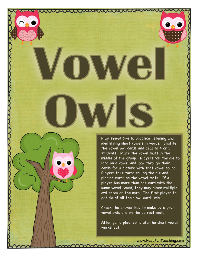 short vowel activity
