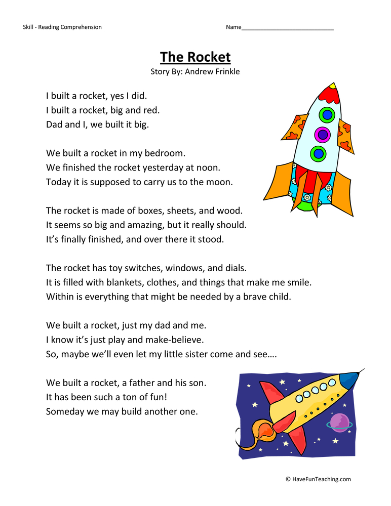 Third Grade Reading Comprehension Worksheet - The Rocket - Have Fun ...