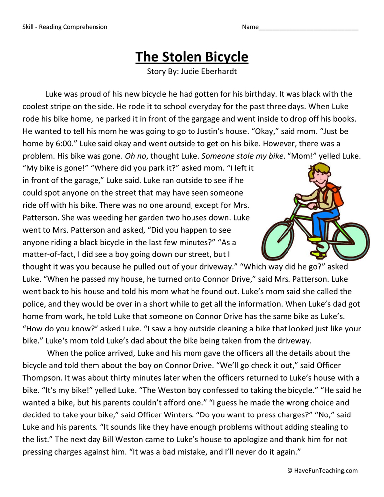 Third Grade Reading Comprehension Worksheets- Page 4 of 16 - Have Fun ...